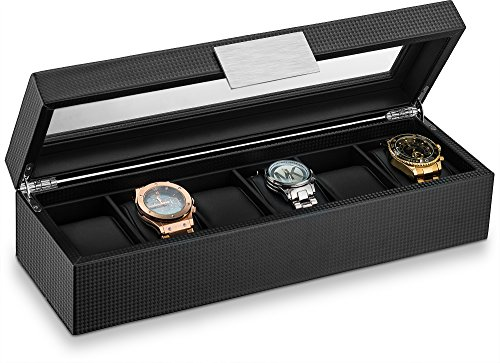 Glenor Co Watch Box for Men - 6 Slot Luxury Carbon Fiber Design Mens Display Case, Large Holder,Metal Buckle -Black