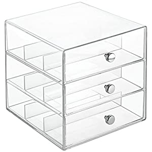 InterDesign Clarity Cosmetic Organizer for Vanity Cabinet to Hold Makeup, Beauty Products