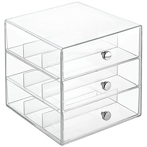 InterDesign Clarity Cosmetic Organizer for Vanity Cabinet to Hold Makeup, Beauty - Display Sunglass