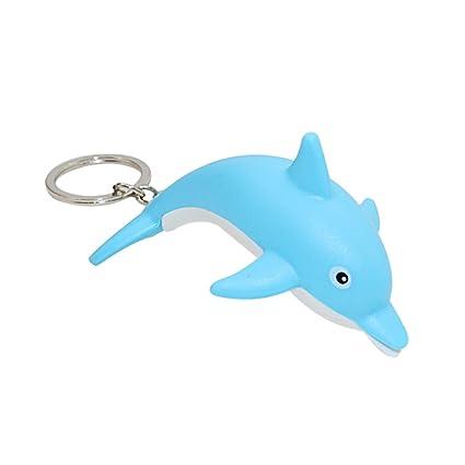 MAJGLGE - Llavero con diseño de delfín con luz LED, Color Azul