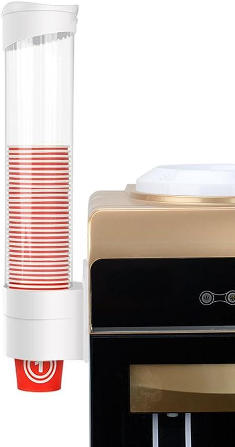 Dispensador de pl/ástico montado en la pared Dispensador de vasos de papel y conos de papel biodegradables 9 41.5cm blanco