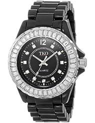 TKO ORLOGI Womens TK608-BK Ceramix-Ice Black Acrylic Crystallized Bezel Watch