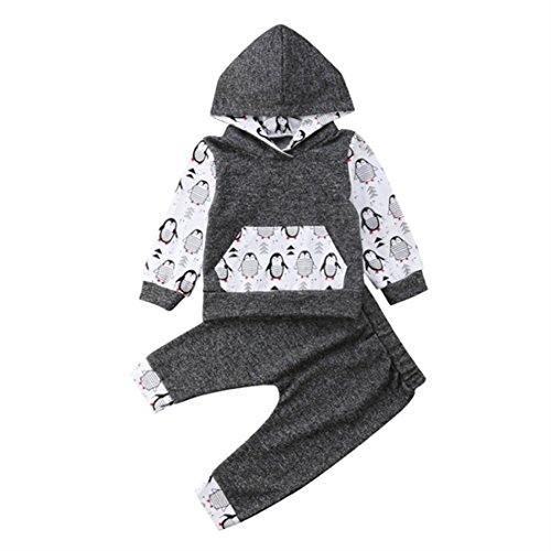 Toddler Infant Baby Boy Girl Penguin Outfit Long Sleeve Pullover Hoodie Top and Pants Set Winter Clothes 12-18 Months