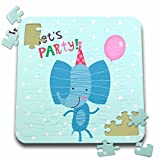 Uta Naumann Sayings and Typography - Cute Baby Safari Elephant Typography On Blue Polkadots - Lets Party - 10x10 Inch Puzzle (pzl_275536_2)