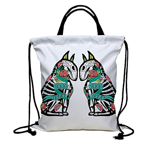 3D Print Drawstring Bag String Backpack,Halloween Decorations,Skeleton Demon Figures Flowers and Trick or Treat Quote Ethnic Design,Multi,for Travel Gym School Beach -