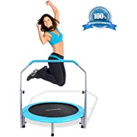 """SereneLife Portable & Foldable Trampoline - 40"""" in-Home Mini Rebounder with Adjustable Handrail, Fitness Body Exercise, Springfree Safe for Kids - SLELT403"""