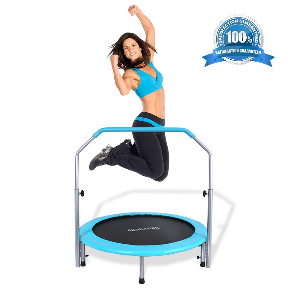 SereneLife Portable & Foldable Trampoline - 40'' in-Home Mini Rebounder with Adjustable Handrail, Fitness Body Exercise, Springfree Safe for Kids - SLELT403