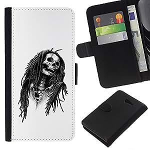 Stuss Case / Funda Carcasa PU de Cuero - Marley Rasta Cráneo Jamaica Cantante - Sony Xperia M2