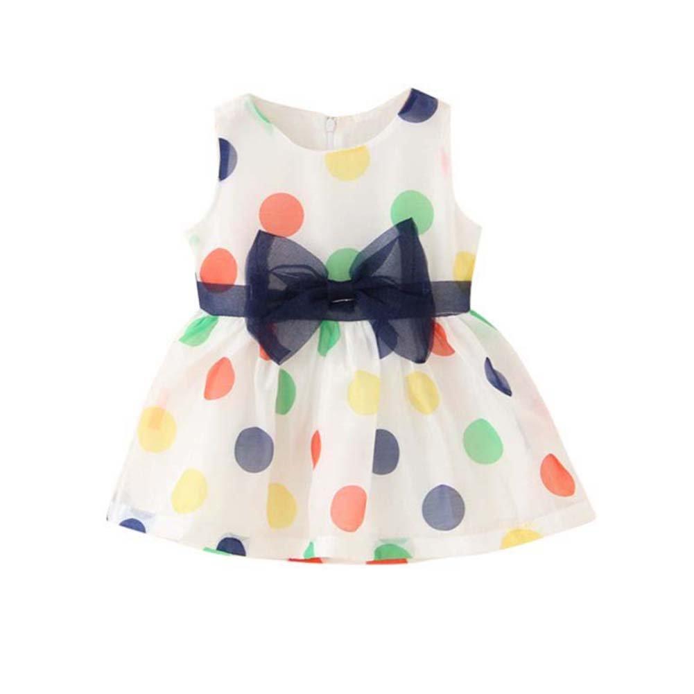 ESHOO Summer Baby Girls Little Princess Sleeveless Flower Dress 0-24 Months