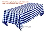 Tektrum PREMIUM QUALITY 60 X 84 INCH 60''X84'' RECTANGULAR TABLECLOTH CHECKER - THICK/HEAVY DUTY/DURABLE FABRIC (Blue and White)