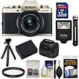 Fujifilm X-T100 Digital Camera & 15-45mm XC OIS PZ Lens (Champagne Gold) 32GB Card + Battery + Tripod + Flash + Case + Kit