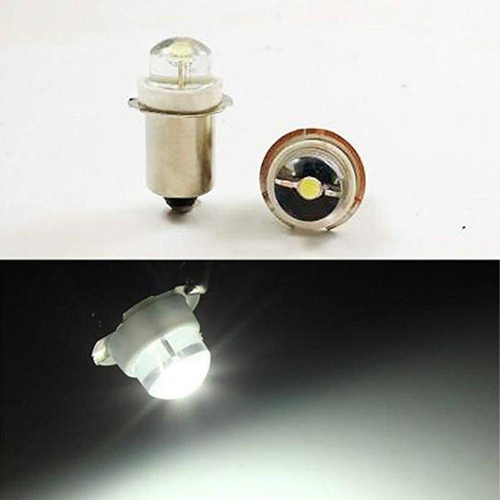 P13.5S 3 V 4, 5 V 6 V 0, 5 Watt 0, 75 Watt 6500 Karat Weiß LED Glühbirne Taschenlampe Scheinwerfer Mini Kopf Lampe Taschenlampe (4-Pack) EIYYLED