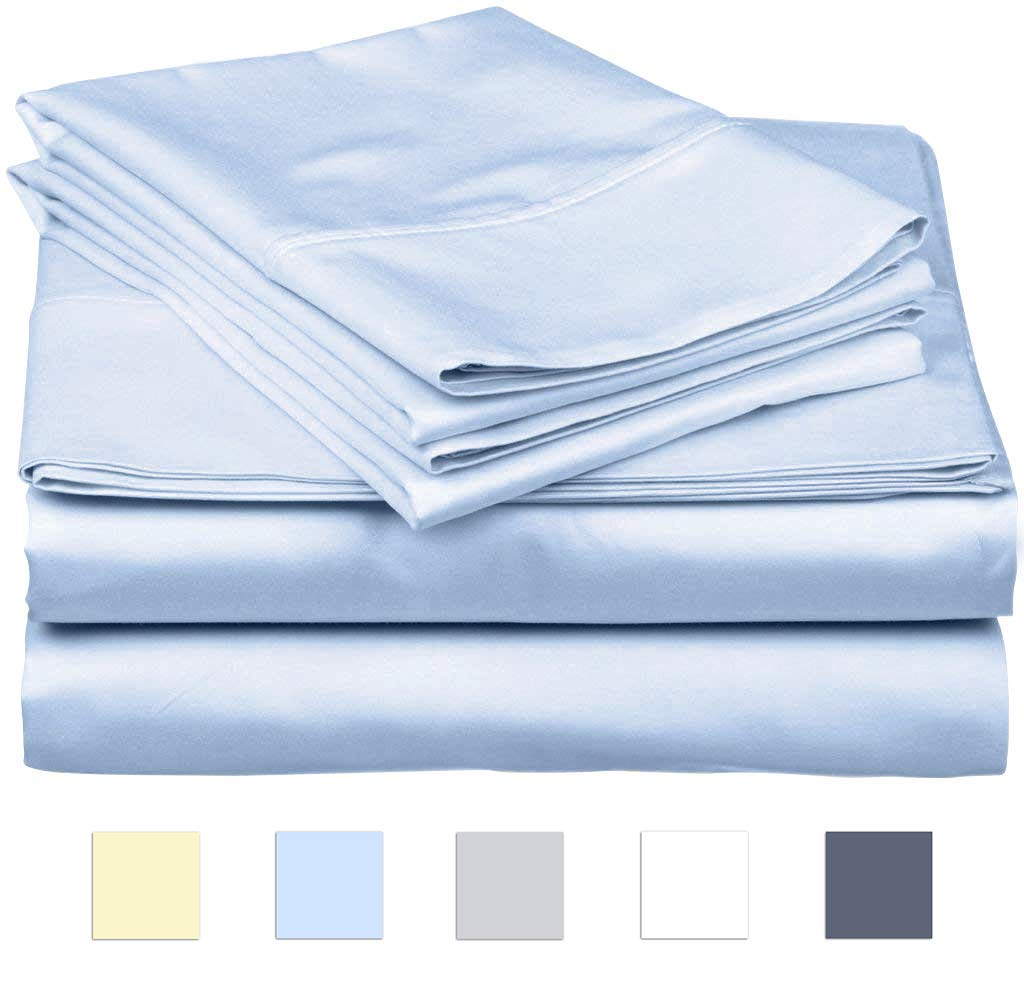 SanCozy 400 Thread Count Sheet Set, 4 Piece Set, Cotton, Queen Size,Light Blue,Sateen Weave Bedsheet, Breathable, Fits up to 18 inches deep mattresses