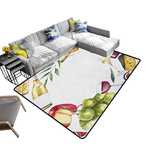 Wine Custom Pattern Floor mat Round Frame with Hand Painted Food Objects Watercolor Wine Cheese Fruits Collection 78