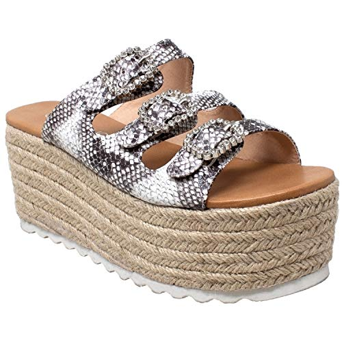 - SOBEYO Womens Platform Sandals Wedge Flatform Slip On Rhinestone Accent Espadrilles Snake SZ 9