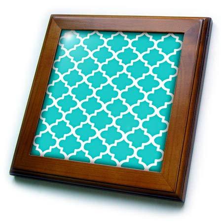 Framed Tile Sky - 3dRose Taiche - Digital Art - Arabian Pattern - Arabesque Architecture Pattern in Sky Blue - 8x8 Framed Tile (ft_317491_1)