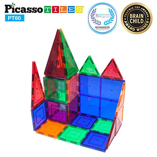 PicassoTiles 60 Piece Set 60pcs Magnet Building Tiles Clear Magnetic 3D Building (Construction Block)
