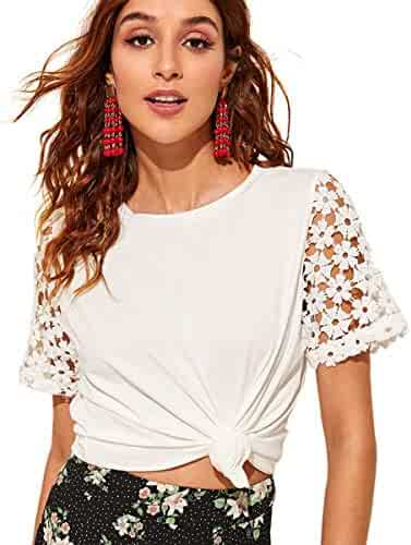 107ed5dc8 Romwe Women's Solid Hollow Out Embroidered Floral Casual Tee Short Sleeve  Elegant Blouse Top