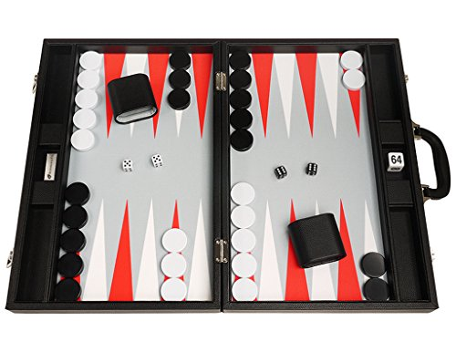 Silverman & Co. 19-inch Premium Backgammon Set - Large Size - Black Board, White and Scarlet Red Points