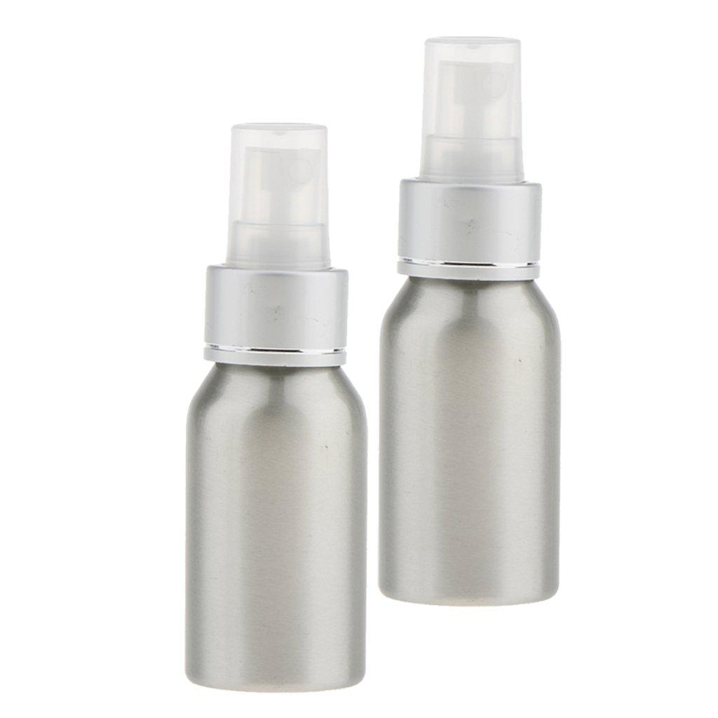 MagiDeal 2x Bouteille Cosmétique Vide à Vaporisation en Brouillard en Aluminium Spray Pulvérisateur Rechargeable à Lotion Parfum pour Voyage - 40ml / 50ml / 100ml / 120ml - 50 ml