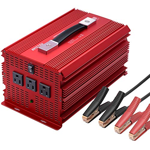 BESTEK 2000 Watt Power Inverter DC 12V to AC 110V Power Converter for Car with 3 AC Outlets, Modified Sine Wave Converter with 4 Car Battery Clamps Car Power Inverter for Powering &Emergency
