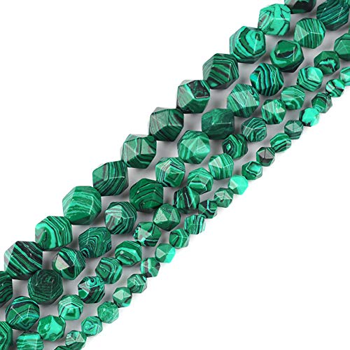 6mm 8mm 10mm 12mm AAA Grade Faceted Beads Natural Stone Beads DIY Precious Gemstone Loose Strand Beads for Jewelry Making Perles Semi (Malachite, 8MM)