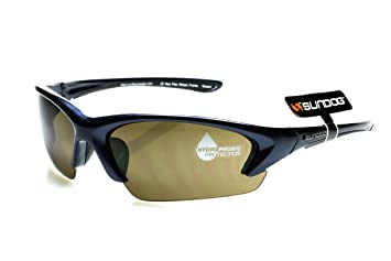 4c03a3b4d84 Sundog Prey - Professional Sports Sunglasses with Navy Frame and Brown  Water Repellent Hydrophobic Lens -
