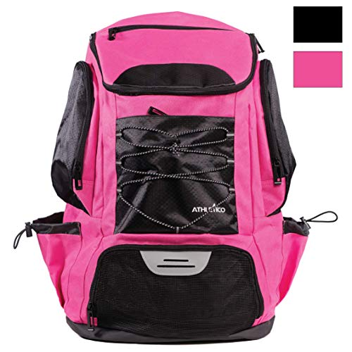 Athletico Swim Backpack - Pool Bag with Wet & Dry Compartments for Swimming, The Beach, Camping and More (Pink)