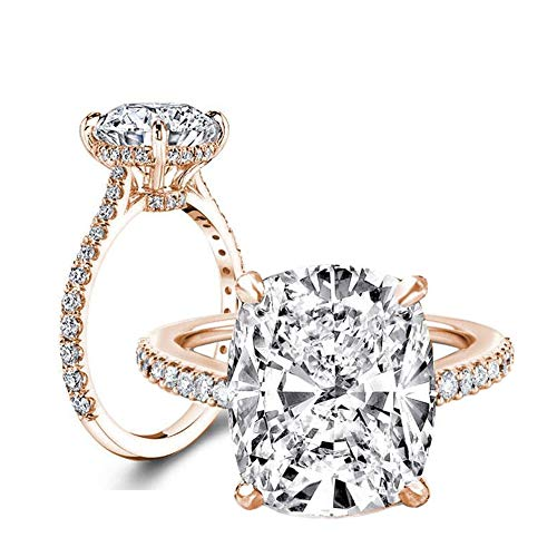 (Erllo 6 Carat Clear Cushion Cut CZ Cubic Zirconia Solitaire Wedding Engagement Ring 925 Sterling Silver (Rose-Gold-Plated-Silver, 6))