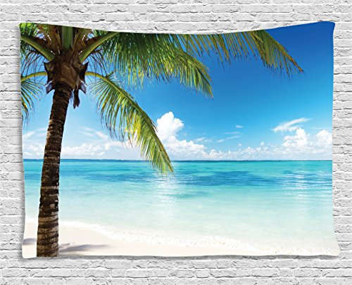 Ocean Tapestry by Ambesonne, Exotic Beach Water and Palm Tree by the Shore with Clear Sky Landscape Image, Wall Hanging for Bedroom Living Room Dorm, 80 W X 60 L Inches, Green Blue White (Room Ideas Themed Dining Beach)