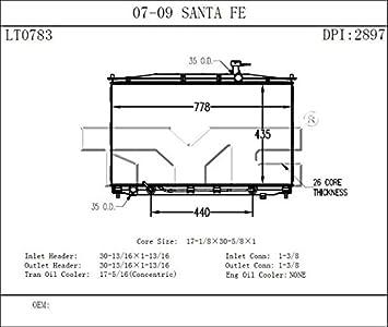 Radiator OSC 2897 fits 07-09 Hyundai Santa Fe