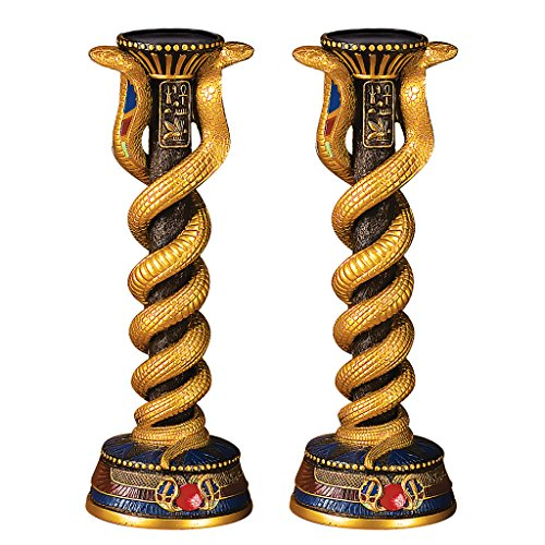 Design Toscano Renenutet, the Cobra Goddess Altar Candlestick and Candle Set of (Foot Candlestick)