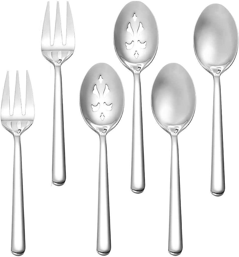 Serving Spoon x 2,Slotted Serving Spoon x 2,Serving Forks x 2,RTT 9 Inch Stainless Steel Catering Serving Utensils for Party Buffet Dinner Banquet Cooking Kitchen Basics,Mirror Finish Flatware