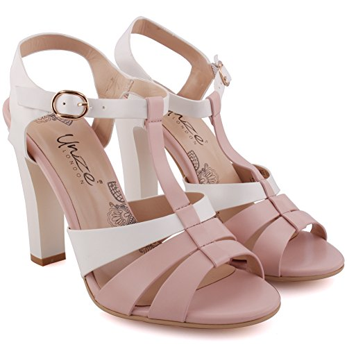 'luminate' Carnival Party Peep Sandals Heel Festival Toe 8 High 3 Size Buckle Closure Sling Get together Women Back Block Uk Soiree Toned White Two Unze Ladies ZUy5SzUW