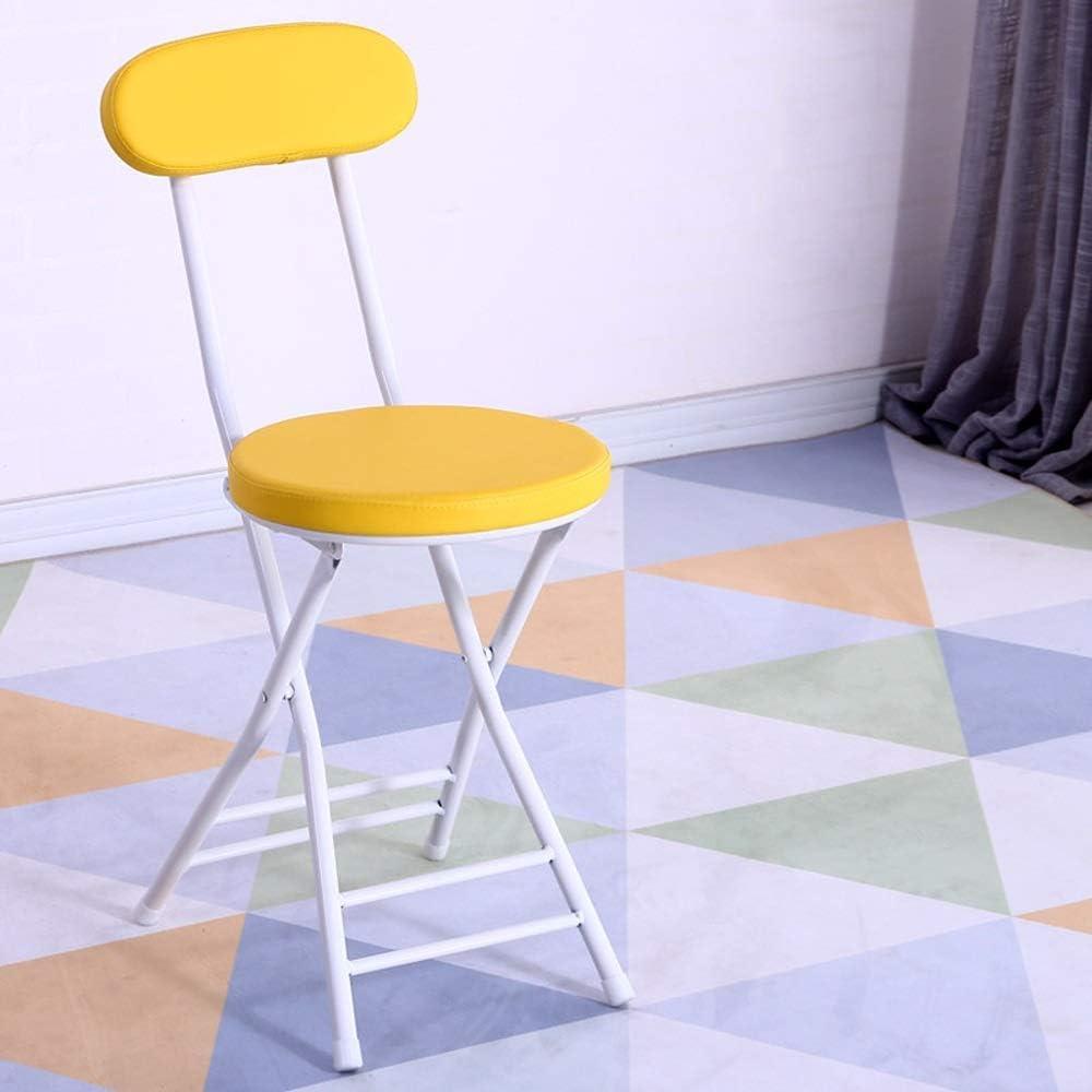 Chaise, Chaise de salle à manger HYX005, Salon, Cuisine chambre, Dortoir, Chaise de dossier pliante à la mode, Chaise simple portable (Couleur : White) Yellow
