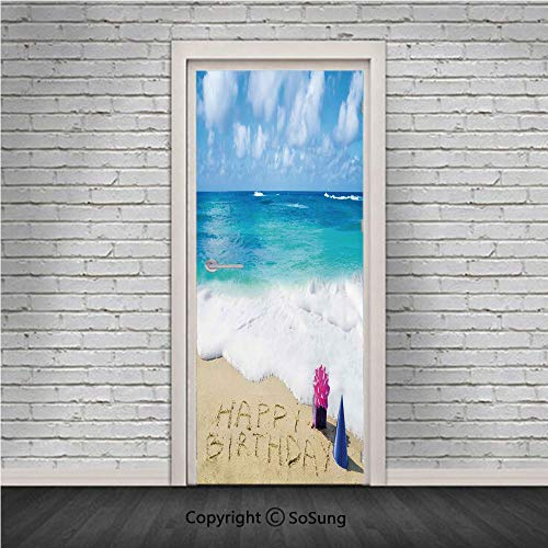 Birthday Decorations Door Wall Mural Wallpaper Stickers,Happy Birthday on Sandy Beach with Party Hat Presents Ocean,Vinyl Removable 3D Decals 30.4x78.7/2 Pieces set,for Home Decor Blue Light Brown Pin