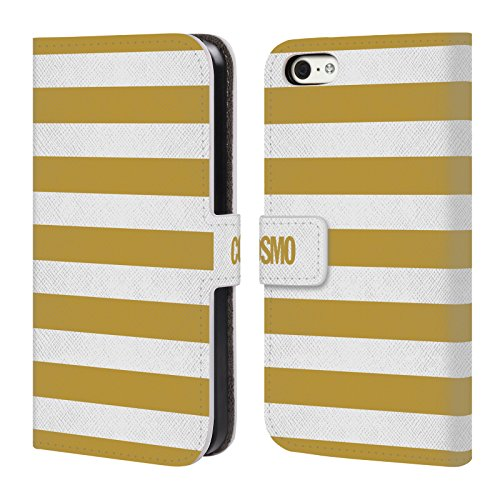 Official Cosmopolitan Gold Stripes Collection Leather Book Wallet Case Cover For Apple iPhone 5c