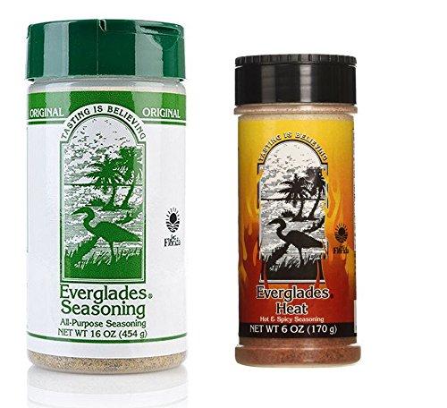 Everglades Seasoning 16 oz All Purpose 6oz Hot & Spicy Heat BBQ Rub Bundle by Everglades