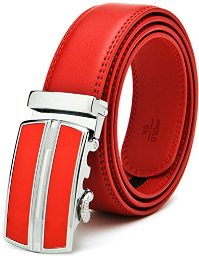 Ayli Men's Dress Belt, Genuine Leather Ratchet Belt with Automatic Buckle, 1a Red, bt2a001rd -