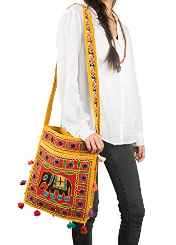 Tribe Azure Hobo Cross Body Elephant Messenger Shoulder Bag Mirror Embroidered Roomy Women Purse Tote Colorful Casual Everyday Hippie Boho (Mustard) (Embroidered Mirror)
