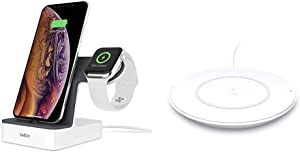 Belkin F8J237ttWHT iPhone Charging Dock + Apple Watch Charging Stand (Powerhouse iPhone Charging Station) & F7U027dqWHT Wireless Charger
