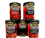 Bush's Grillin' Baked Beans, VARIETY 4 Pack + FREE Can of MAPLE CURED BACON Beans + 48 piece set of heavy duty plastic utensils. Pack includes 1 can of SMOKEHOUSE TRADITION, 1 can of BOURBON & BROWN SUGAR, 1 can of SOUTHERN PIT BARBECUE, 1 can of STEA
