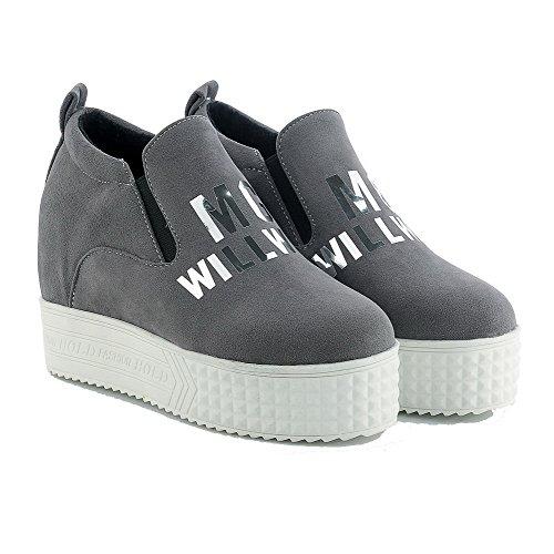 AgooLar Damen Rund Zehe Hoher Absatz Mattglasbirne Rein Ziehen auf Pumps Schuhe Grau