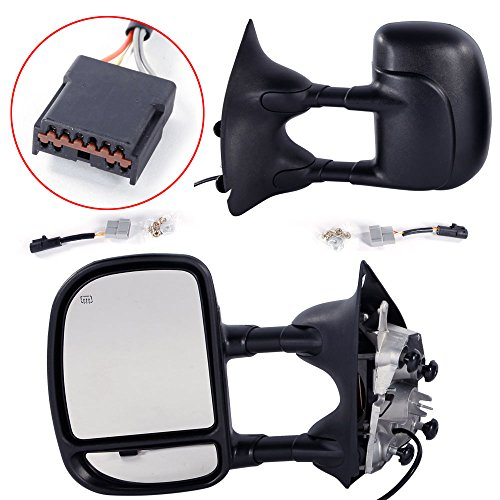 (Roadstar Towing Mirrors for 99-07 Ford F250 F350 F450 F550 Super Duty | 01-05 Ford Excursion Pair Set Extendable Power Heated Tow Mirrors)