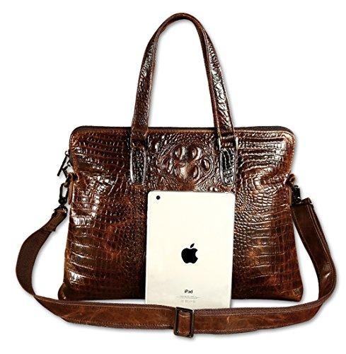 Heshe Vintage Leather Crocodile Men Handbags Messenger Briefcase Business Shoulder Bag Work Tote Fit Laptop (Dark Brown) by HESHE (Image #2)