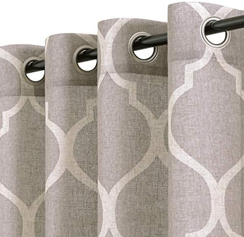 jinchan Linen Textured Printed Curtains Panels Bedroom Living Room Window Treatment 2 Panel Drapes 95 inches Long Grey