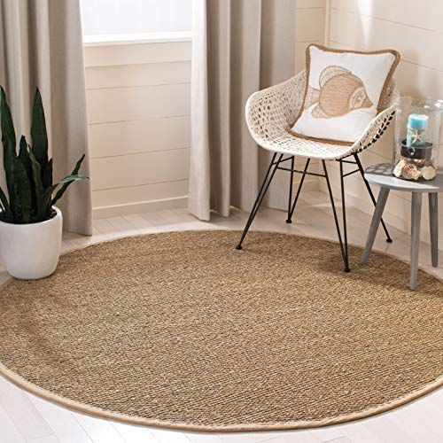 Safavieh Natural Fiber Collection NF115A Herringbone Natural and Beige Seagrass Round Area Rug (6' Diameter) (Sisal Rug Store The)