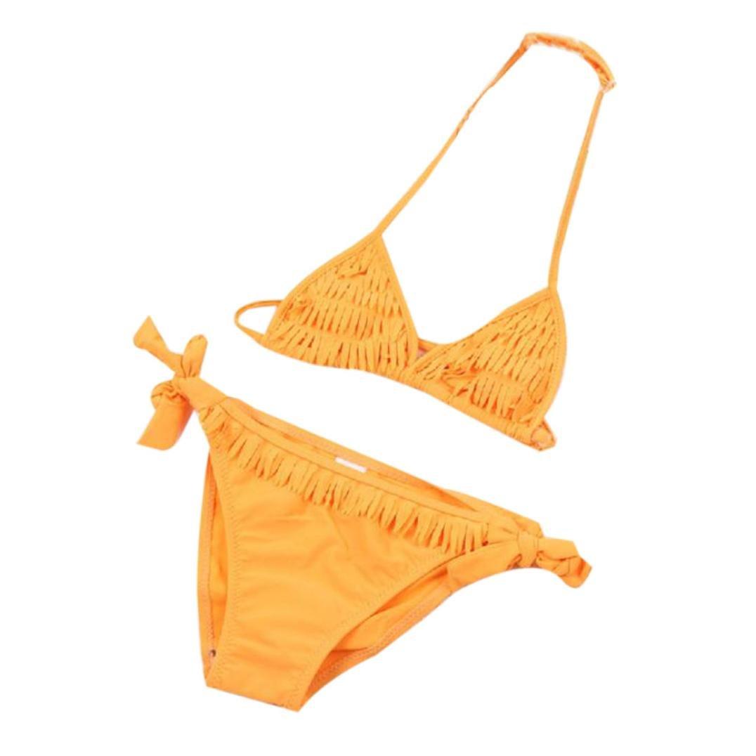 Clode 3-12 Years Old, 1 Set Baby Girls Summer Swimwear Tassel Kids Split Nylon Two-Piece Swimsuit Bikini Set Clode-Girls swimwear -T03