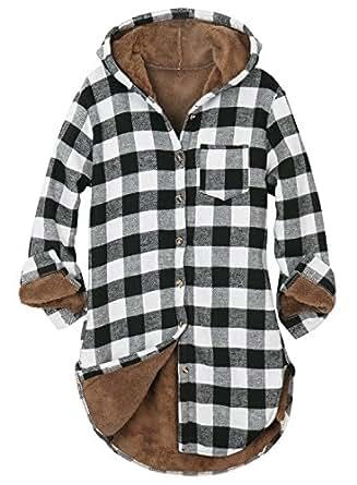 Ililily women buffalo plaid hoodie sherpa lined flannel for Sherpa lined plaid shirt
