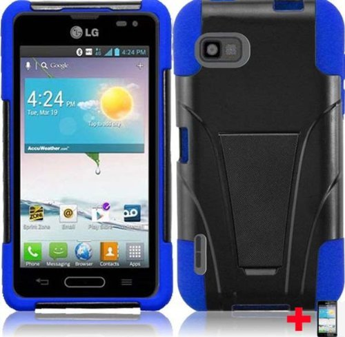 LG Optimus F3 MS659 BLACK BLUE T-STAND MOBILE PHONE CASE + SCREEN PROTECTOR, FROM -